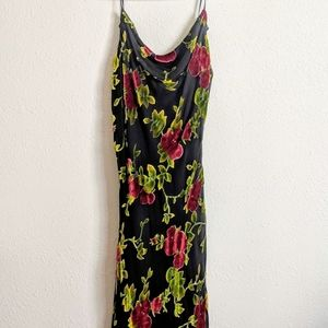 VTG Betsey Johnson Slip Dress L Black Floral Rose